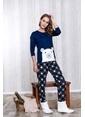 Lingabooms Kutup Ayılı Kadın 2'li Pijama Takım  Lacivert